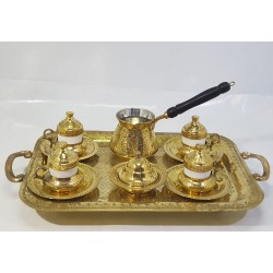 Hand-engraved Serving Coffee Set (Coffee Tray - 4 Coffee Cups - Coffee Kettle- Sugar Pot) Made of Copper
