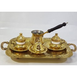 Hand-engraved Serving Coffee Set (Coffee Tray - 2 Coffee Cups - Coffee Kettle- Sugar Pot) Made of Copper