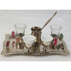 Hand-engraved Serving Coffee Set (Coffee Tray - 2 Coffee Cups - 2 Water Cups - Coffee Kettle) Made of Copper