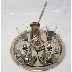 Hand-engraved Serving Coffee Set (Coffee Tray - 2 Coffee Cups - Coffee Kettle - 2 Water Cups - Suger Pot)  Made of Copper