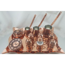 Hand-engraved Serving Coffee Set (Coffee Tray - 6 Coffee Cups -  3 Coffee Kettle- Sugar Pot) Made of Copper