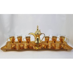 Hand-engraved Serving Coffee Set (Coffee Tray - 6 Coffee Cups - 6 Water Cups - Cups Coffee Kettle) Made of Copper