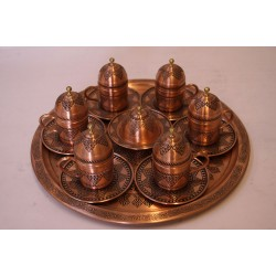 Hand-engraved Serving Coffee Set (Coffee Tray - 6 Coffee Cups - Sugar Pot) Made of Copper