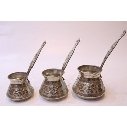 Engraved and Hammered Copper Turkish Coffee Pot Set