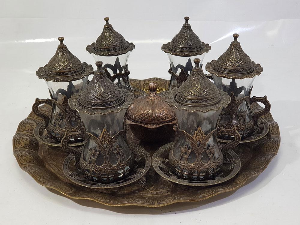 Serving Tea Set (Tray - 6 Tea Cups - Sugar Pot)