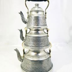 Hand-Embroidered Copper Triple Tea Pot Set