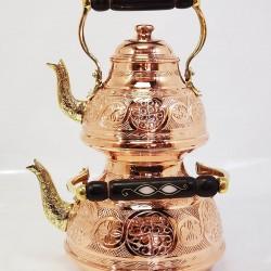 Hand-Embroidered Copper Duel Tea Pot Set